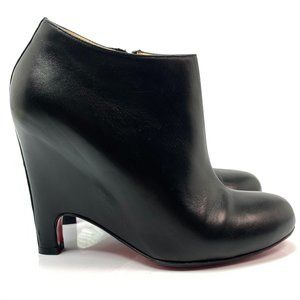 Christian Louboutin Black Leather Morphing Booty Ankle Boots Euro 37.5